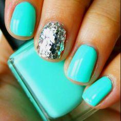 nail polish, aqua blue, color, tiffany blue, summer nails, glitter nails, party nails, sparkly nails, blue nails