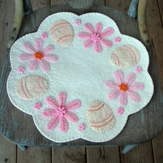 ~Primitive Easter Penny Rug....Candle Mat...wool felt eggs & flowers..spring...~  Handmade by me.....check out my Facebook page!!!  Crafts by Paula