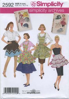 Retro Vintage Apron Sewing Pattern | Simplicity 2592 | Year 2009 | All Sizes | Reissue of Simplicity 1789 (left inset) and Simplicity 1805 (right inset) from the year 1956