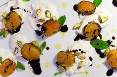 Grilled Apricots with Burrata, Pistachios and Honey Balsamic Syrup, a recipe on Food52   #EATAPRICOTS