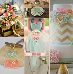 Coral, Vintage Mint and Gold Wedding www.weddingcolorthemes.com/coral-weddings/