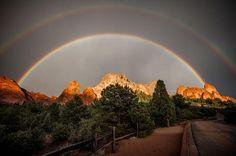 Double rainbow over the 'Garden of the Gods', Colorado Springs, Colorado.