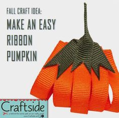 How to make a #ribbon #pumpkin perfect for Halloween and Thanksgiving decorations from the Book 100 Ribbon Embellishments.
