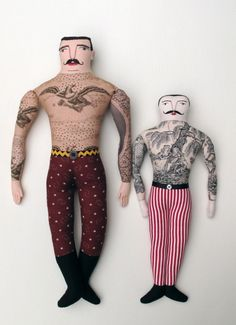 art doll - great use of toile fabric to mimic tattoos