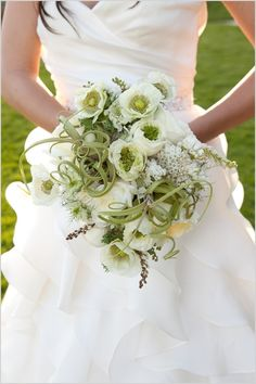 love the use of the massive air plants in this green and white bridal bouquet I swear to deity if I ever marry again This Will Be My Bouquet!