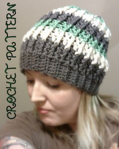 Slouchy Beanie Earth Tones Striped Crochet Hat Brown Cream Green on Etsy, $5.00