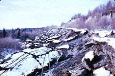 Alaska Earthquake March 27, 1964. A series of earthquake-triggered landslides in glacial deposits disrupted almost a mile of The Alaska Rail...