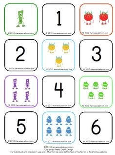 Free monster memory game - great preschool counting activity!
