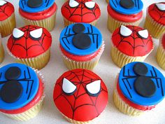 birthday cupcakes for boys, birthday parti, spiderman cupcakes, cupcakes spiderman, boy birthday cupcakes, kid birthdays, parti idea, birthday ideas, spidermancupcak