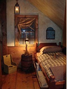 primit bedroom, prim bedroom, attic bedrooms, guest bedrooms, countri bedroom, cozy bedroom, primitive bedroom, country bedrooms, rustic cabin bedroom
