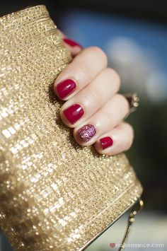 :: red nails with glitter accent ::
