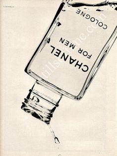 CHANEL Men's Cologne Bottle 1978 Ad