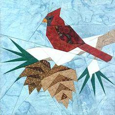 Christmas Cardinal paper pieced block