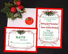 Casual Christmas season wedding or party invitation. Invitations only 1.25 each. rsvp only .95 cents each