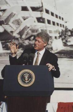 President Clinton speaking in 1995 at CSUN on the Anniversary of the Northridge Quake.