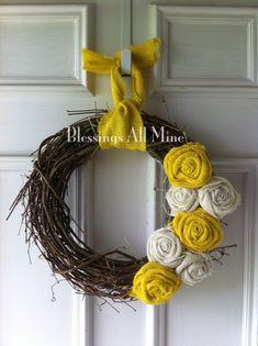 14 inch Grapevine Wreath, Burlap Yellow, & White Flowers, Spring Wreath, Summer Wreath, Wedding Bridal Shower Wreath