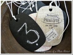 Chalkboard Tags from Laminate Samples!...I wonder how the home stores can keep these and paint sample cards in stock???