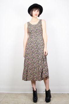Vintage Grunge Dress 90s Dress 1990s Dress Midi Dress Maxi Dress Liberty Floral Print Dress Sun Sundress Lace Up Corset Back Dress S Small #vintage #etsy #90s #1990s #grunge #softgrunge #dress #midi #floral #maxi
