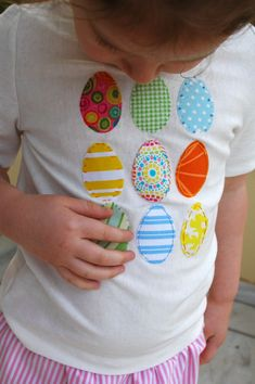 holiday, sew, idea, egg shirt, shirts, easter shirt, egg appliqu, easter eggs, kid