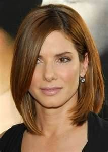 Sandra bullock haircut Long Bob With Layers shoulder length asymmetrical long layered bob with angled front