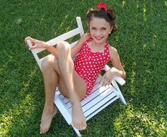 Red and white polka dot Retro one piece girls swimsuit made to order sizes 2-12. $34.00, via Etsy.