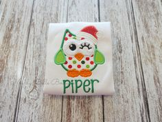 Cute Christmas Owl Appliqued Shirt  by MaddyBelleBoutique on Etsy, $24.00