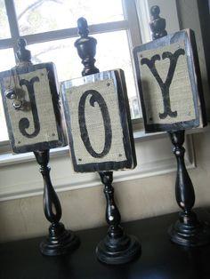 Burlap Christmas JOY Plaques