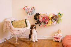 Hanging flower basket for stuffed animals