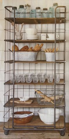 vintage home, kitchen shelves, pantri, kitchen storage, shelving units, industrial rack, bakers rack, industrial kitchen, kitchen shelving