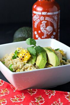 Grilled Corn and Quinoa Salad with Sweet Sriracha Lime Sauce ~vegan, gluten free~ (omit oil, add extra lime juice)