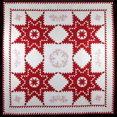 "2012 OCQG Raffle Quilt 100"" x 100"", Feathered Stars and Redwork, quilted by Ruth McCormick"