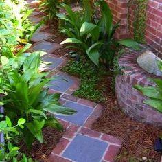 Slate and Brick Walkway