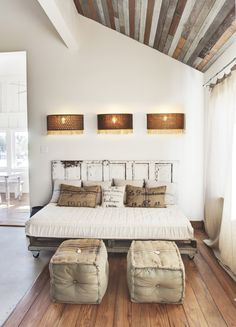 This is perfect for master at RR. Already has wood ceiling, white bedding, and wood door headboard!
