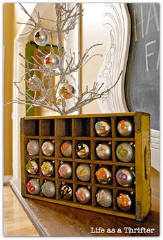 Advent Calendar.. I love the idea of doing this with ornaments that have a verse or a part of the christmas story written on them for each night! holiday, trees, adventcalendar, display, number, old crates, ornaments, diy christmas, christmas advent calendars