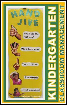 Hand Jive Kindergarten Chart for Behavior Management via RainbowsWithinReach