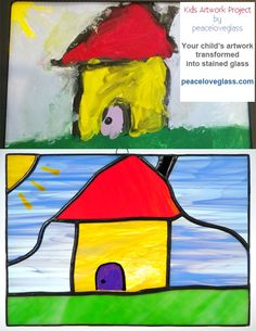 """Kids' Artwork Project from peaceloveglass.com - I recreate your child's artwork into an amazing 8x10"""" stained glass masterpiece."""