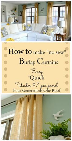 """Fry Sauce & Grits: How to make """"Easy"""" """"No sew"""" burlap curtains and then decide you should have just bought what you wanted"""