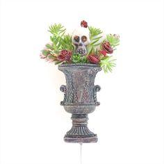 Miniature Garden Halloween Vase with Skull Planter. Original miniatures by Janit on Etsy.  #miniaturegarden