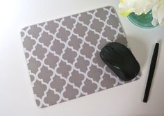 Gray Morrocan Quatrefoil Print Mouse Pad  by yourethatgirldesigns