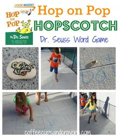 Hop on Pop Hopscotch...a fun way to practice letters, numbers, sight words and more!