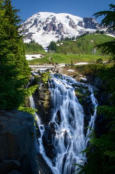 It's views like this that keep us traveling! Myrtle Falls, Mt. Rainier, WA  Join us on our May Getaway http://globetrottergirls.com/getaways