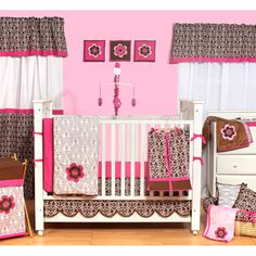 Bacati - Floral Damask 10pc Nursery-in-a-Bag Crib Bedding Set
