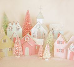 make your own vintage glitter houses and bottle brush trees