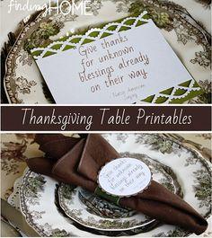 Thanksgiving Table Free Printables