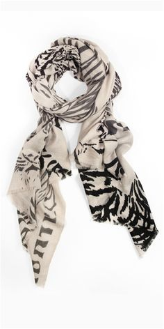 love this scarf!!!!  Tiger Print Cashmere Scarf by We are Owls: 100% cashmere. Measures 3 x 6.5' #Scarf #Cashmere_Scarf #We_Are_Owls
