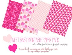 Sweet pink patterned digital paper. Adorable designs, print and create Thousands of printable paper designs  www.printablepartyshop.com  girl baby shower, pink baby shower, baby shower ideas