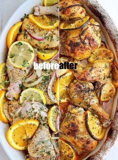 HERB AND CITRUS OVEN ROASTED CHICKEN - I would skip the sugar or sub for honey or agave nectar. Just 1 hour in the oven @ 400 degrees F. Can prepare beforehand and marinate over night!