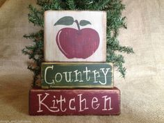 Primitive Apple Country Kitchen Home Decor Shelf Sitter Wood Block Set OOAK #PrimitiveCountryKitchen