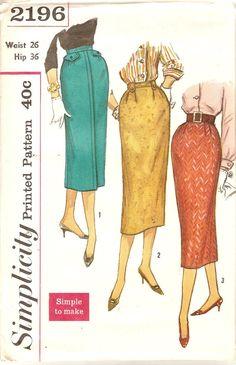 1950s Pencil Skirt Pattern Waist 26 Simplicity 2196 Vintage Sewing Pattern