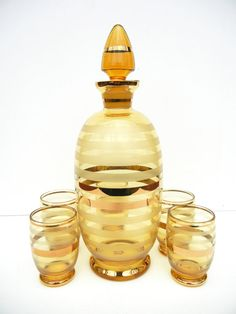 Striped Mid Century Decanter and Shot Glass Set